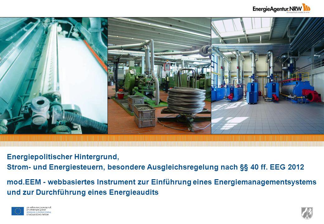 Einführung eines Energiemanagementsystems im Unternehmen Thomas Gentzow Folie 13 Referentenentwurf der Bundesregierung zum Energie- und Stromsteuergesetz Fassung vom 18.