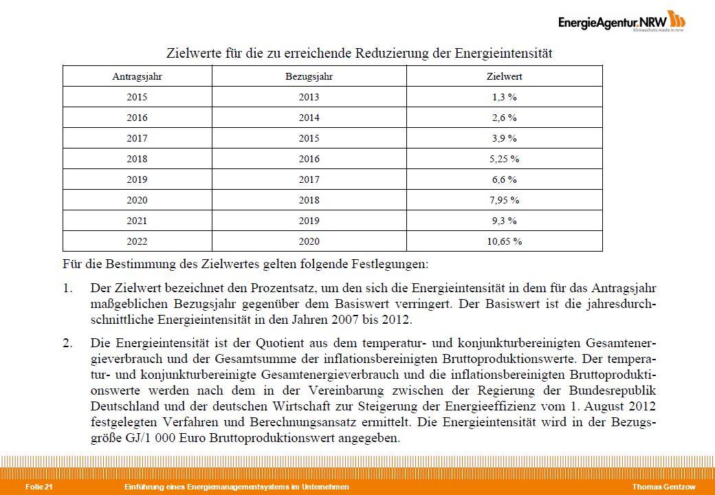 Einführung eines Energiemanagementsystems im Unternehmen Thomas Gentzow Folie 21