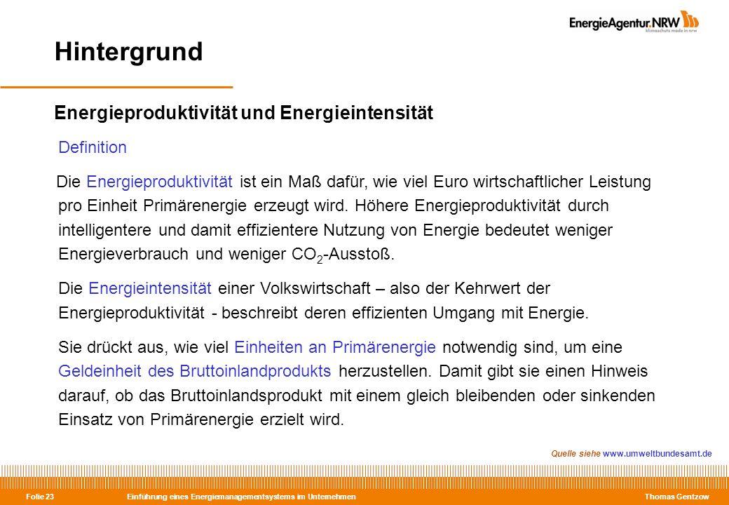 Einführung eines Energiemanagementsystems im Unternehmen Thomas Gentzow Folie 23 Energieproduktivität und Energieintensität Definition Die Energieprod