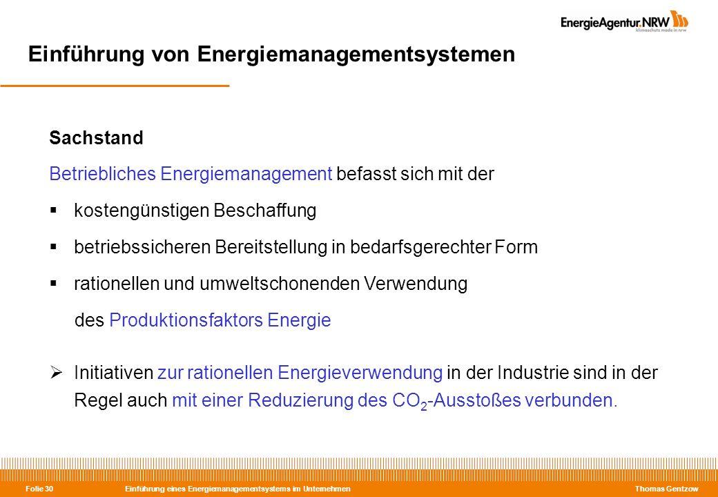 Einführung eines Energiemanagementsystems im Unternehmen Thomas Gentzow Folie 30 Einführung von Energiemanagementsystemen Sachstand Betriebliches Ener