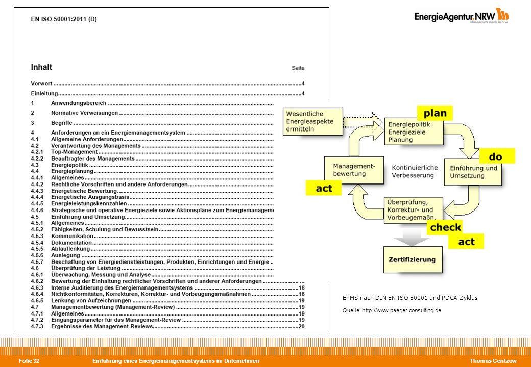 Einführung eines Energiemanagementsystems im Unternehmen Thomas Gentzow Folie 32 EnMS nach DIN EN ISO 50001 und PDCA-Zyklus Quelle: http://www.paeger-