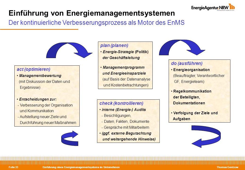 Einführung eines Energiemanagementsystems im Unternehmen Thomas Gentzow Folie 33 Einführung von Energiemanagementsystemen Der kontinuierliche Verbesse