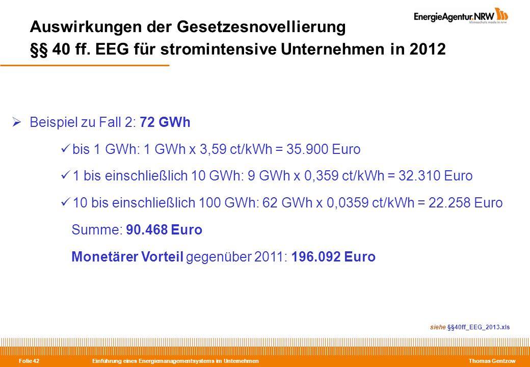 Einführung eines Energiemanagementsystems im Unternehmen Thomas Gentzow Folie 42 Auswirkungen der Gesetzesnovellierung §§ 40 ff. EEG für stromintensiv