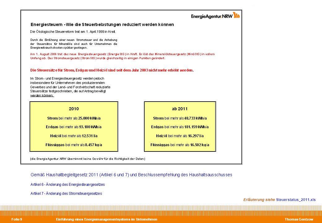 Einführung eines Energiemanagementsystems im Unternehmen Thomas Gentzow Folie 10 Erläuterung siehe Steuerstatus_2012.xls