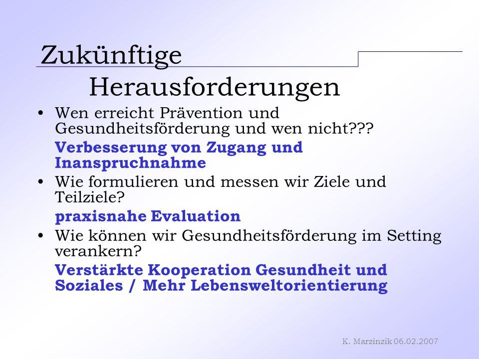K. Marzinzik 06.02.2007 Zukünftige Herausforderungen Wen erreicht Prävention und Gesundheitsförderung und wen nicht??? Verbesserung von Zugang und Ina