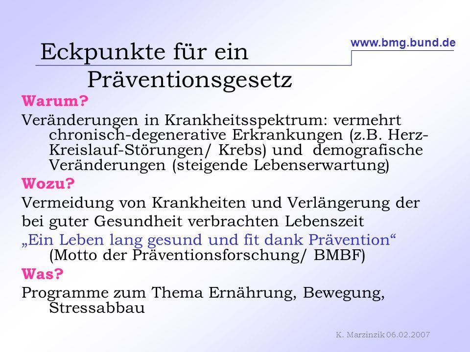 K. Marzinzik 06.02.2007 Eckpunkte für ein Präventionsgesetz Warum? Veränderungen in Krankheitsspektrum: vermehrt chronisch-degenerative Erkrankungen (