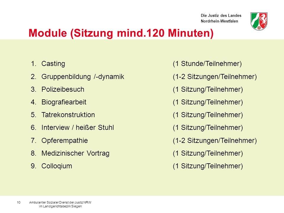 Die Justiz des Landes Nordrhein-Westfalen Ambulanter Sozialer Dienst der Justiz NRW im Landgerichtsbezirk Siegen 10 Module (Sitzung mind.120 Minuten)