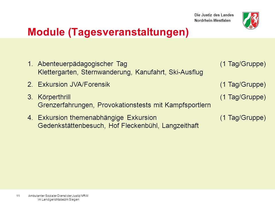 Die Justiz des Landes Nordrhein-Westfalen Ambulanter Sozialer Dienst der Justiz NRW im Landgerichtsbezirk Siegen 11 Module (Tagesveranstaltungen) 1.Ab