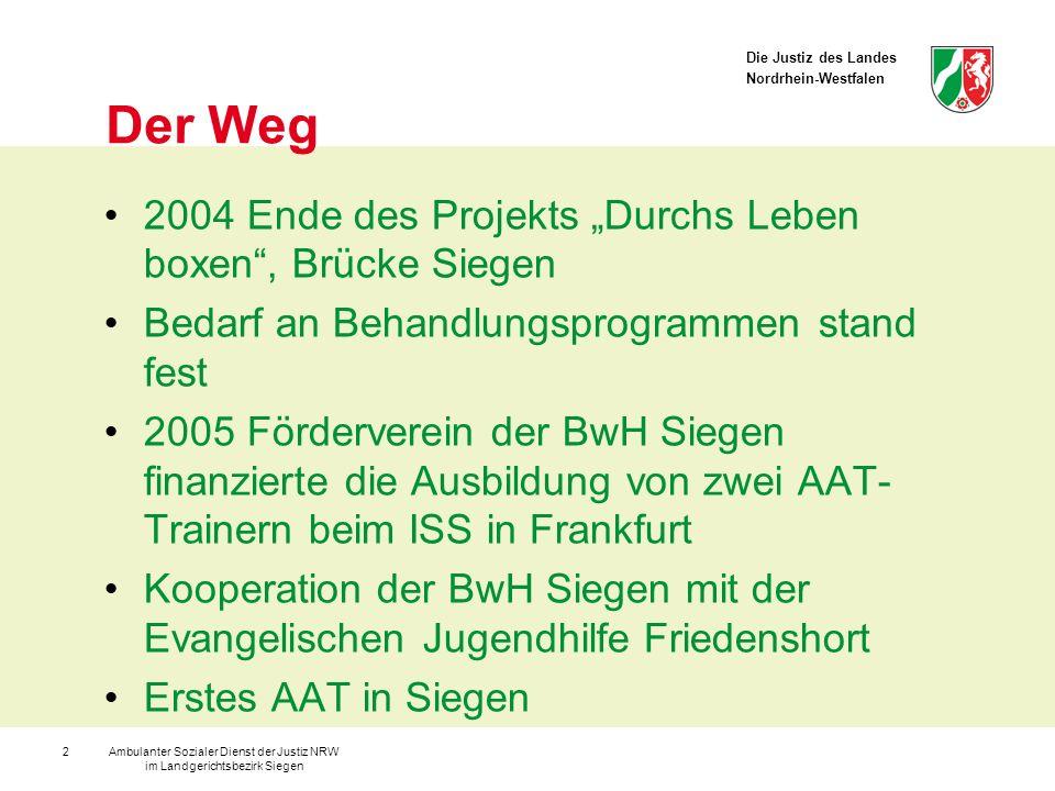 Die Justiz des Landes Nordrhein-Westfalen Ambulanter Sozialer Dienst der Justiz NRW im Landgerichtsbezirk Siegen 2 Der Weg 2004 Ende des Projekts Durc