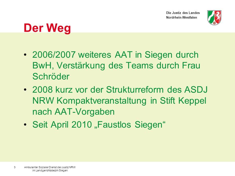 Die Justiz des Landes Nordrhein-Westfalen Ambulanter Sozialer Dienst der Justiz NRW im Landgerichtsbezirk Siegen 14 Erfolgreiche Täterbehandlung ist Opferschutz!