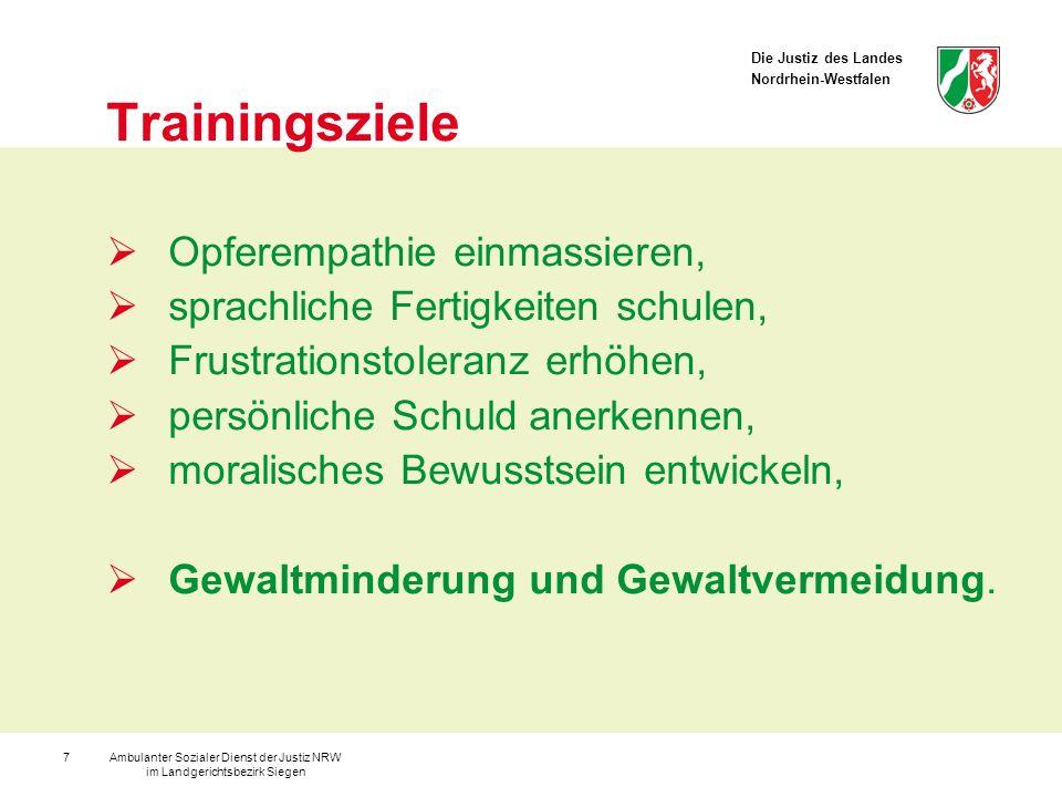 Die Justiz des Landes Nordrhein-Westfalen Ambulanter Sozialer Dienst der Justiz NRW im Landgerichtsbezirk Siegen 7 Trainingsziele Opferempathie einmas