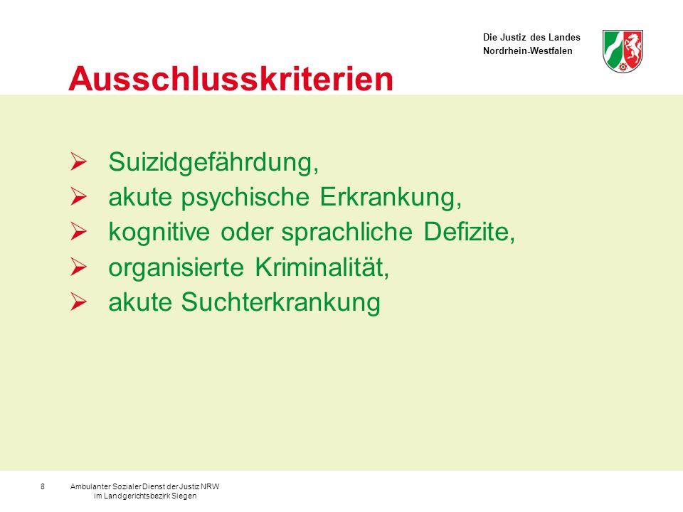 Die Justiz des Landes Nordrhein-Westfalen Ambulanter Sozialer Dienst der Justiz NRW im Landgerichtsbezirk Siegen 9 Rahmenbedingungen maximal 10 Teilnehmer 14-tägig abends sowie 2 bis 3 Tages- veranstaltungen die verbindliche Teilnahme ist vorgeschrieben ein Zertifikat wird ausgehändigt