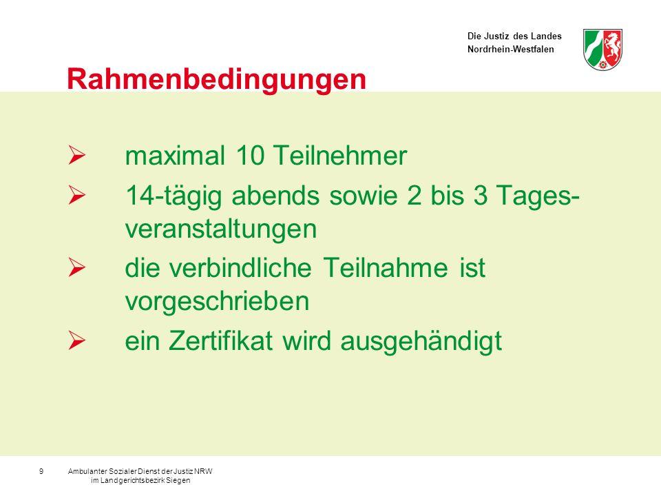 Die Justiz des Landes Nordrhein-Westfalen Ambulanter Sozialer Dienst der Justiz NRW im Landgerichtsbezirk Siegen 10 Module (Sitzung mind.120 Minuten) 1.Casting(1 Stunde/Teilnehmer) 2.Gruppenbildung /-dynamik(1-2 Sitzungen/Teilnehmer) 3.Polizeibesuch(1 Sitzung/Teilnehmer) 4.Biografiearbeit(1 Sitzung/Teilnehmer) 5.Tatrekonstruktion(1 Sitzung/Teilnehmer) 6.Interview / heißer Stuhl(1 Sitzung/Teilnehmer) 7.Opferempathie(1-2 Sitzungen/Teilnehmer) 8.Medizinischer Vortrag(1 Sitzung/Teilnehmer) 9.Colloqium(1 Sitzung/Teilnehmer)