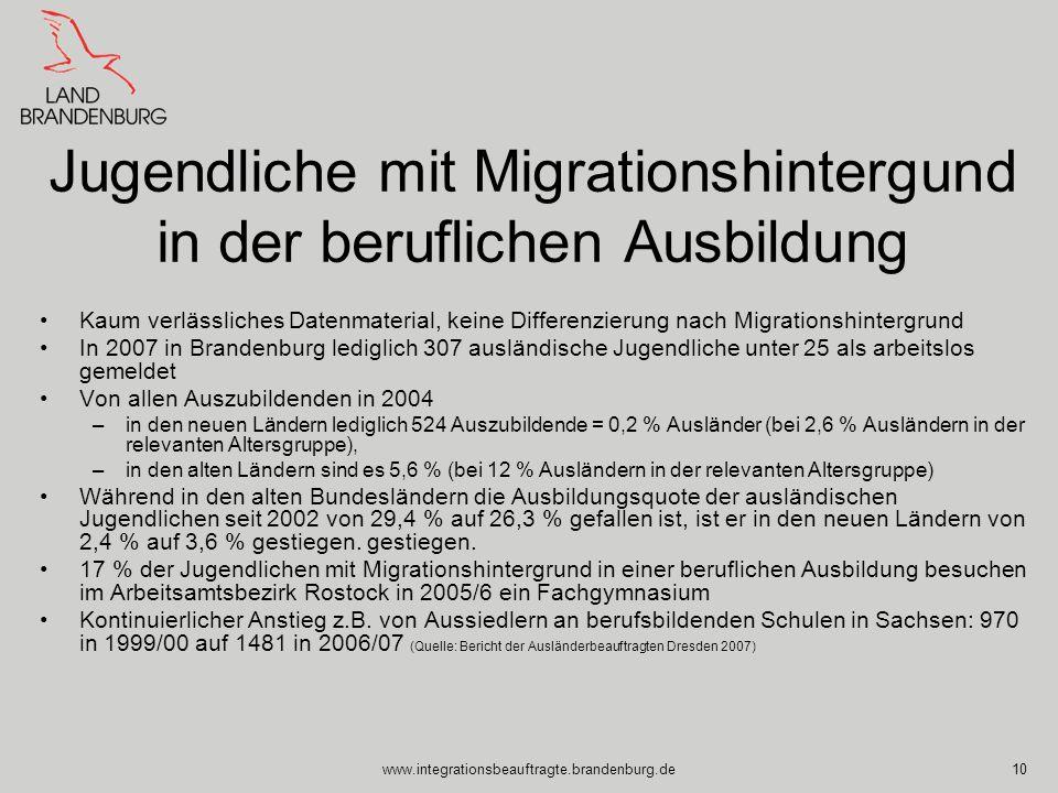 www.integrationsbeauftragte.brandenburg.de10 Jugendliche mit Migrationshintergund in der beruflichen Ausbildung Kaum verlässliches Datenmaterial, kein