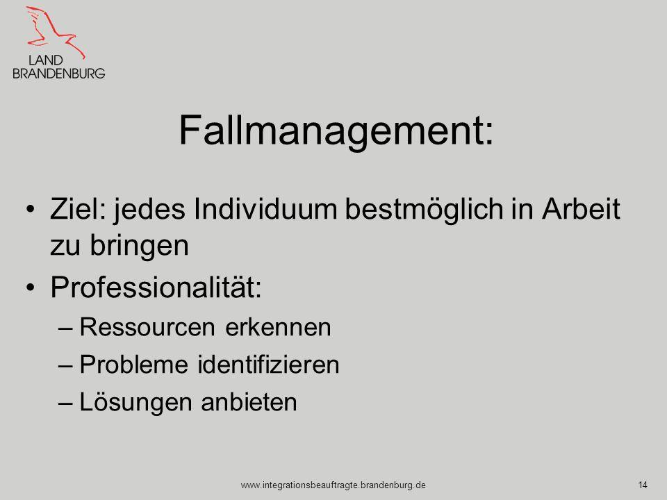 www.integrationsbeauftragte.brandenburg.de14 Fallmanagement: Ziel: jedes Individuum bestmöglich in Arbeit zu bringen Professionalität: –Ressourcen erk