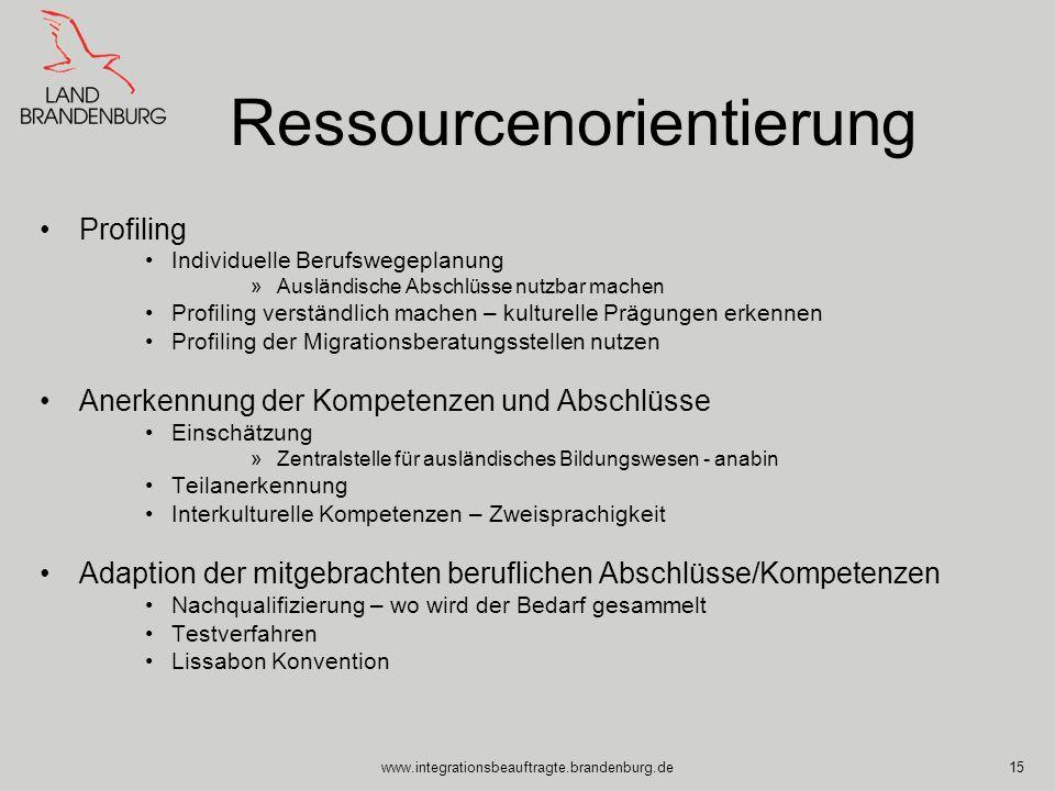 www.integrationsbeauftragte.brandenburg.de15 Ressourcenorientierung Profiling Individuelle Berufswegeplanung »Ausländische Abschlüsse nutzbar machen P