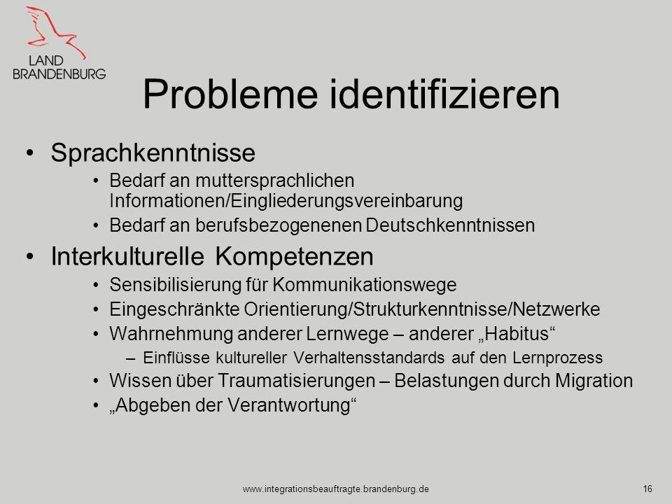 www.integrationsbeauftragte.brandenburg.de16 Probleme identifizieren Sprachkenntnisse Bedarf an muttersprachlichen Informationen/Eingliederungsvereinb