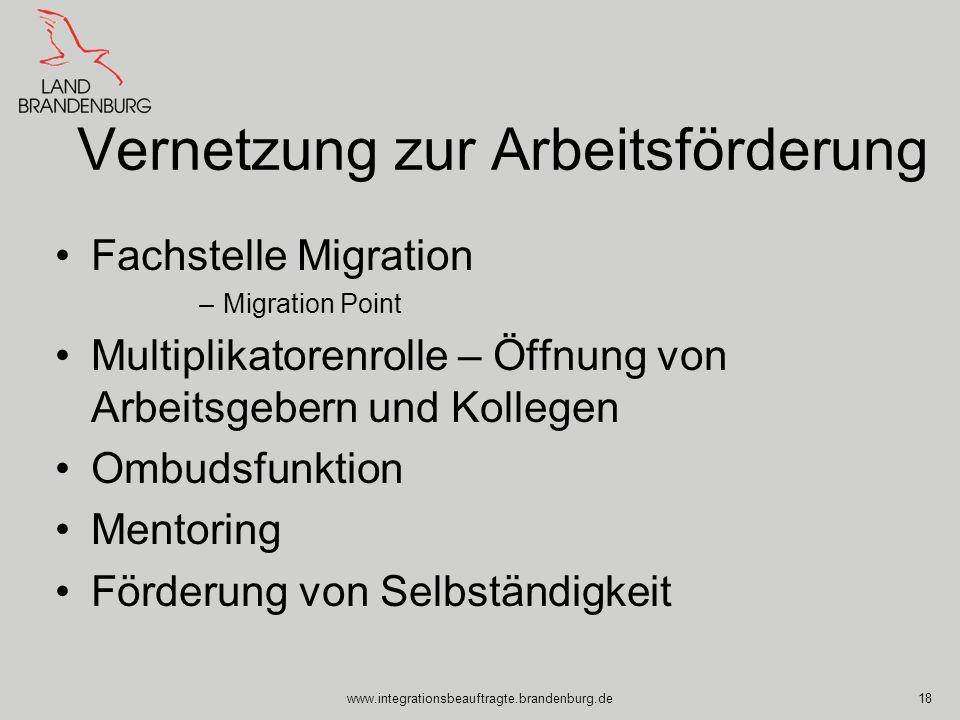 www.integrationsbeauftragte.brandenburg.de18 Vernetzung zur Arbeitsförderung Fachstelle Migration –Migration Point Multiplikatorenrolle – Öffnung von