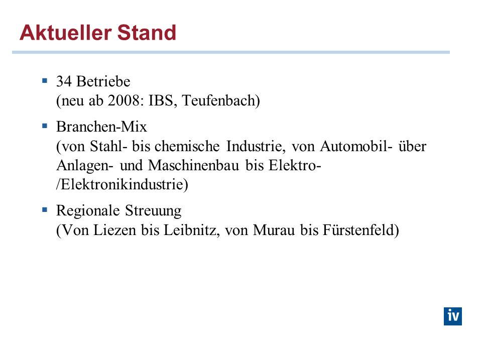 Aktueller Stand 34 Betriebe (neu ab 2008: IBS, Teufenbach) Branchen-Mix (von Stahl- bis chemische Industrie, von Automobil- über Anlagen- und Maschinenbau bis Elektro- /Elektronikindustrie) Regionale Streuung (Von Liezen bis Leibnitz, von Murau bis Fürstenfeld)
