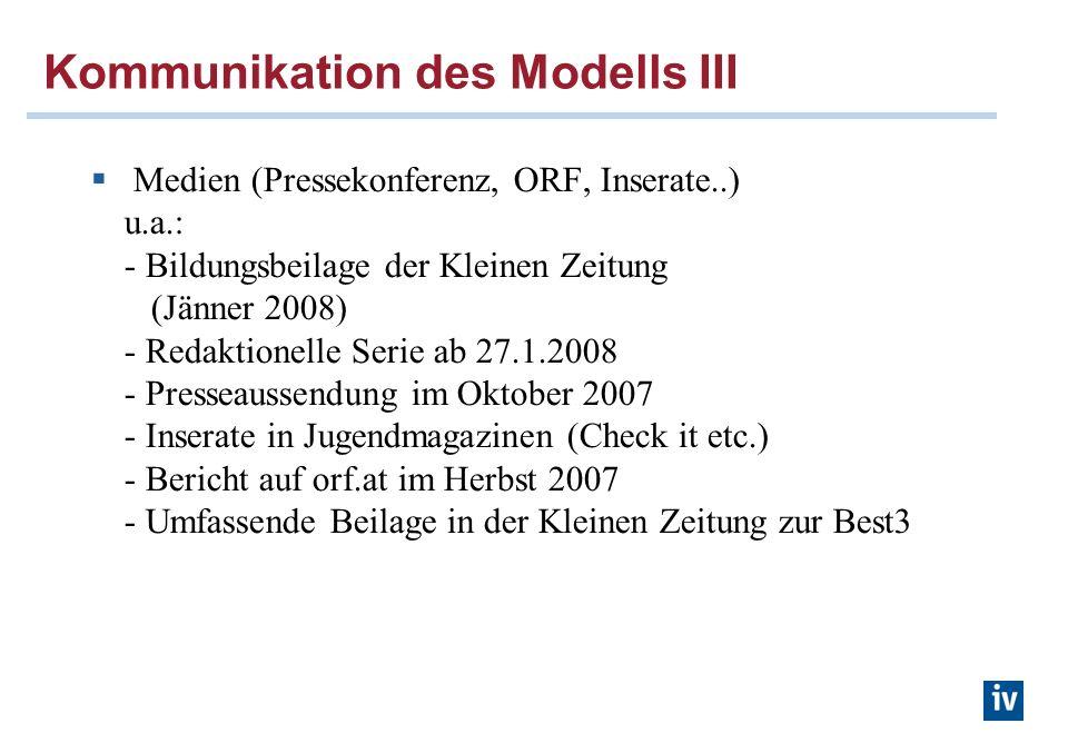 Kommunikation des Modells III Medien (Pressekonferenz, ORF, Inserate..) u.a.: - Bildungsbeilage der Kleinen Zeitung (Jänner 2008) - Redaktionelle Seri
