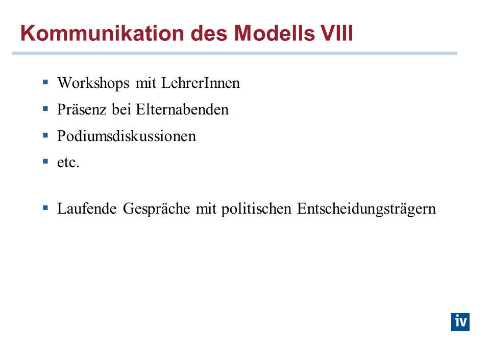 Kommunikation des Modells VIII Workshops mit LehrerInnen Präsenz bei Elternabenden Podiumsdiskussionen etc. Laufende Gespräche mit politischen Entsche