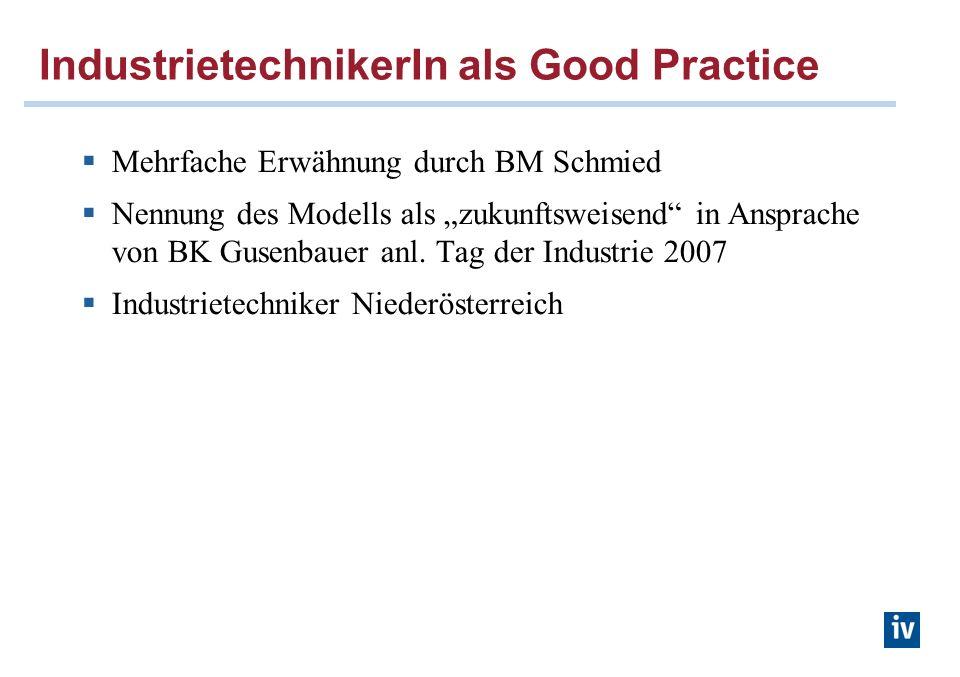 IndustrietechnikerIn als Good Practice Mehrfache Erwähnung durch BM Schmied Nennung des Modells als zukunftsweisend in Ansprache von BK Gusenbauer anl