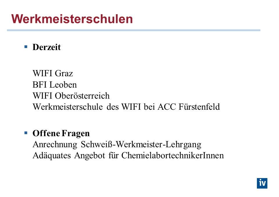 Werkmeisterschulen Derzeit WIFI Graz BFI Leoben WIFI Oberösterreich Werkmeisterschule des WIFI bei ACC Fürstenfeld Offene Fragen Anrechnung Schweiß-Werkmeister-Lehrgang Adäquates Angebot für ChemielabortechnikerInnen