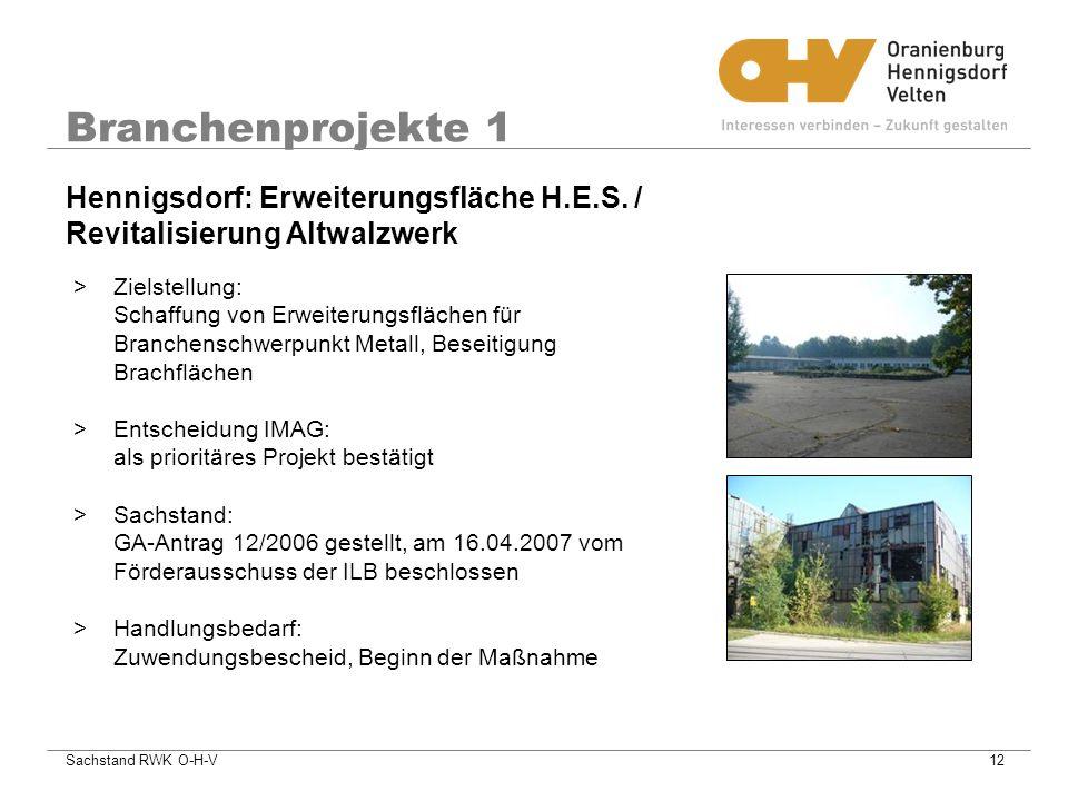 Sachstand RWK O-H-V12 Branchenprojekte 1 >Zielstellung: Schaffung von Erweiterungsflächen für Branchenschwerpunkt Metall, Beseitigung Brachflächen >Entscheidung IMAG: als prioritäres Projekt bestätigt >Sachstand: GA-Antrag 12/2006 gestellt, am 16.04.2007 vom Förderausschuss der ILB beschlossen >Handlungsbedarf: Zuwendungsbescheid, Beginn der Maßnahme Hennigsdorf: Erweiterungsfläche H.E.S.