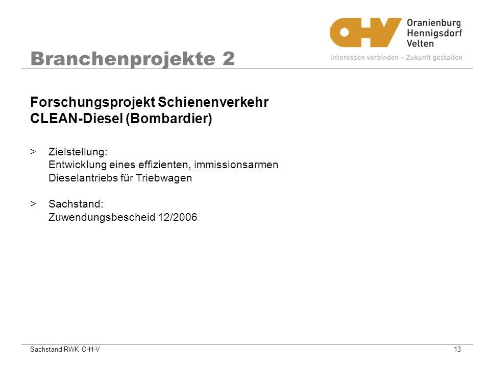Sachstand RWK O-H-V13 Branchenprojekte 2 >Zielstellung: Entwicklung eines effizienten, immissionsarmen Dieselantriebs für Triebwagen >Sachstand: Zuwendungsbescheid 12/2006 Forschungsprojekt Schienenverkehr CLEAN-Diesel (Bombardier)