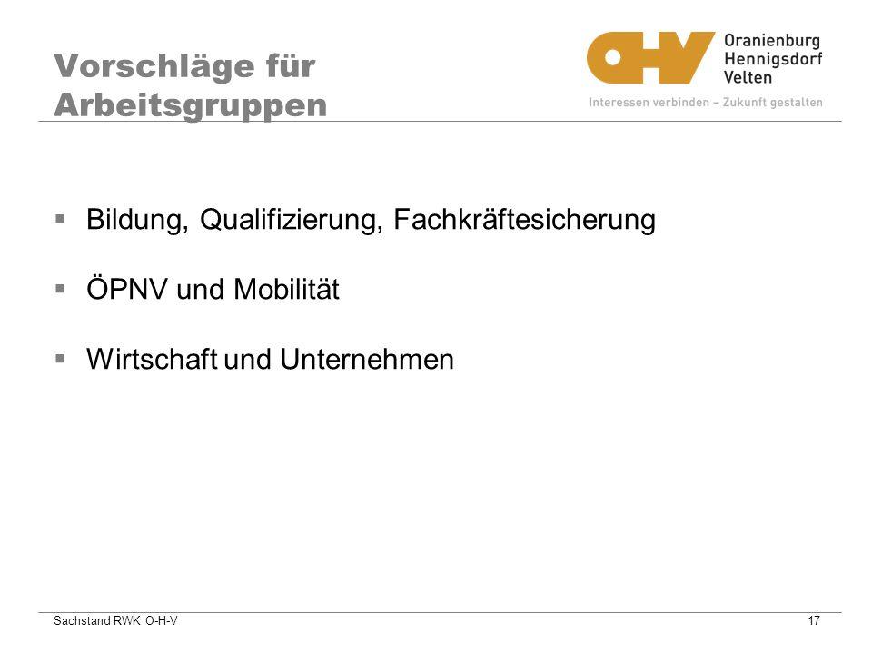 Sachstand RWK O-H-V17 Vorschläge für Arbeitsgruppen Bildung, Qualifizierung, Fachkräftesicherung ÖPNV und Mobilität Wirtschaft und Unternehmen