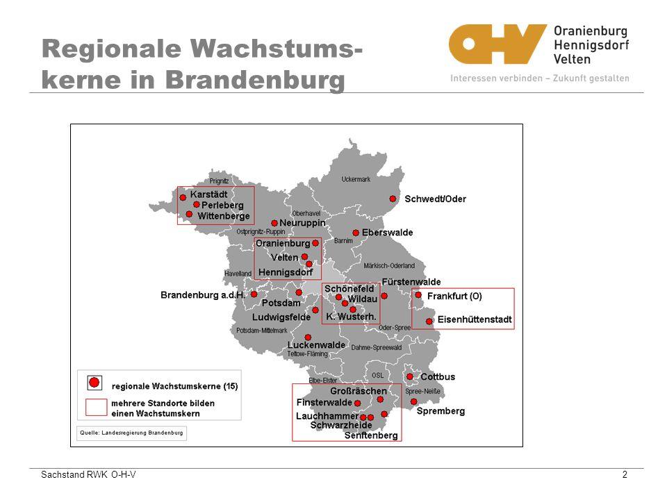 Sachstand RWK O-H-V2 Regionale Wachstums- kerne in Brandenburg