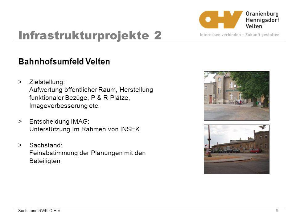 Sachstand RWK O-H-V9 Infrastrukturprojekte 2 >Zielstellung: Aufwertung öffentlicher Raum, Herstellung funktionaler Bezüge, P & R-Plätze, Imageverbesserung etc.
