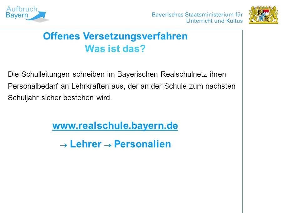 Die Schulleitungen schreiben im Bayerischen Realschulnetz ihren Personalbedarf an Lehrkräften aus, der an der Schule zum nächsten Schuljahr sicher bes