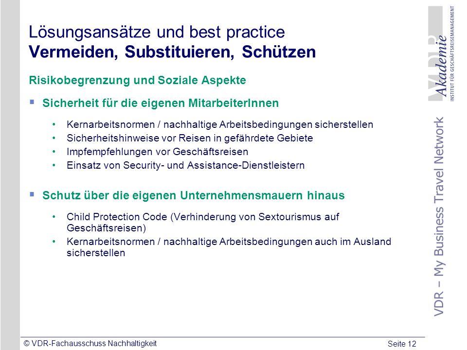 Seite 12 © VDR-Fachausschuss Nachhaltigkeit Lösungsansätze und best practice Vermeiden, Substituieren, Schützen Risikobegrenzung und Soziale Aspekte S