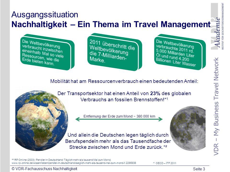 Seite 3 © VDR-Fachausschuss Nachhaltigkeit Ausgangssituation Nachhaltigkeit – Ein Thema im Travel Management *² RP Online (2003): Pendler in Deutschla
