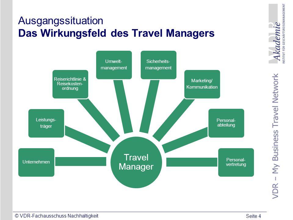 Seite 4 © VDR-Fachausschuss Nachhaltigkeit Ausgangssituation Das Wirkungsfeld des Travel Managers Travel Manager Unternehmen Leistungs- träger Reiseri