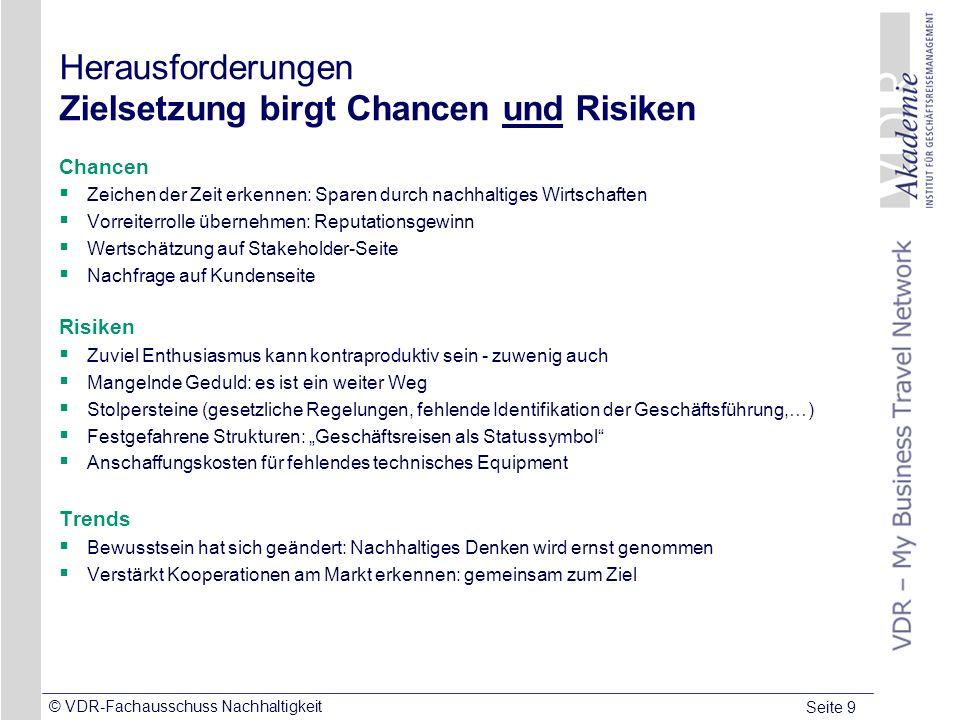 Seite 9 © VDR-Fachausschuss Nachhaltigkeit Herausforderungen Zielsetzung birgt Chancen und Risiken Chancen Zeichen der Zeit erkennen: Sparen durch nac