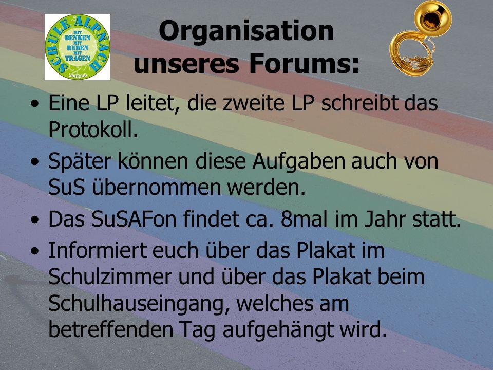 Organisation unseres Forums: Eine LP leitet, die zweite LP schreibt das Protokoll. Später können diese Aufgaben auch von SuS übernommen werden. Das Su