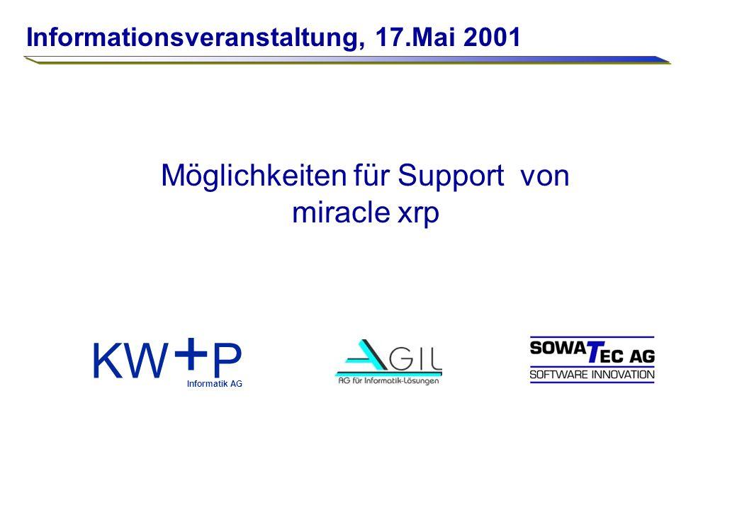 Support und Unterstützung Seite 1 KW + P Informatik AG Möglichkeiten für Support von miracle xrp Informationsveranstaltung, 17.Mai 2001
