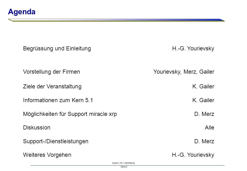 Support und Unterstützung Seite 2 Begrüssung und Einleitung H.-G. Yourievsky Vorstellung der FirmenYourievsky, Merz, Gailer Ziele der VeranstaltungK.