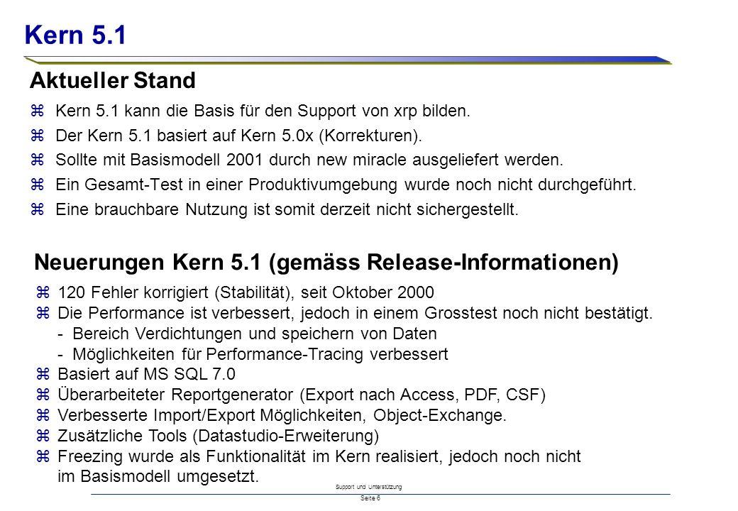 Support und Unterstützung Seite 6 zKern 5.1 kann die Basis für den Support von xrp bilden. zDer Kern 5.1 basiert auf Kern 5.0x (Korrekturen). zSollte