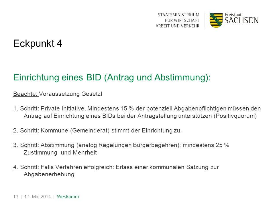 | 17. Mai 2014 | Weskamm13 Eckpunkt 4 Einrichtung eines BID (Antrag und Abstimmung): Beachte: Voraussetzung Gesetz! 1. Schritt: Private Initiative. Mi
