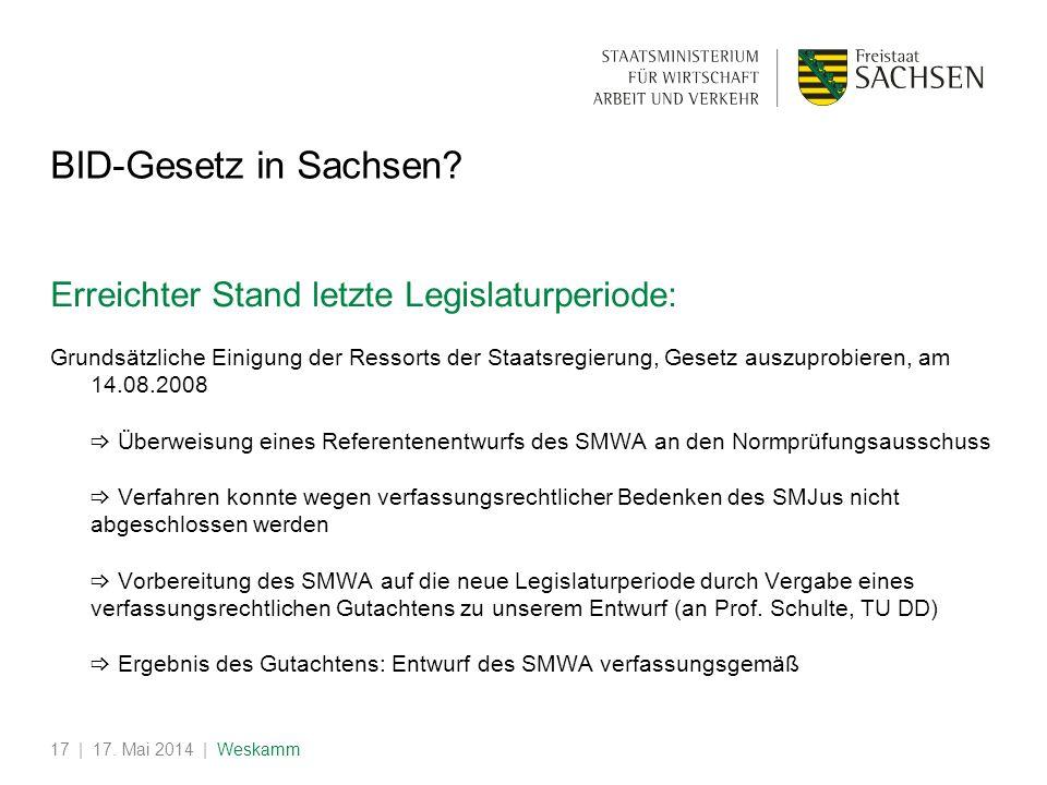 | 17. Mai 2014 | Weskamm17 BID-Gesetz in Sachsen? Erreichter Stand letzte Legislaturperiode: Grundsätzliche Einigung der Ressorts der Staatsregierung,