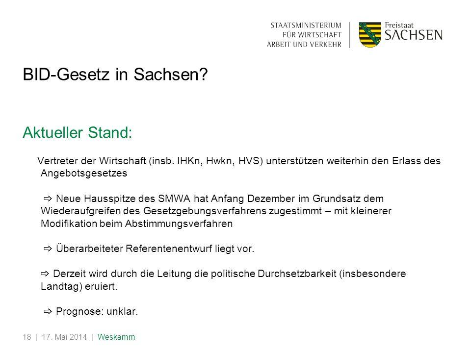 | 17. Mai 2014 | Weskamm18 BID-Gesetz in Sachsen? Aktueller Stand: Vertreter der Wirtschaft (insb. IHKn, Hwkn, HVS) unterstützen weiterhin den Erlass