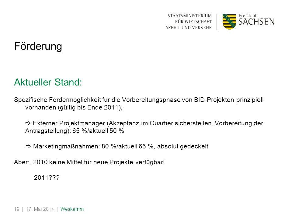| 17. Mai 2014 | Weskamm19 Förderung Aktueller Stand: Spezifische Fördermöglichkeit für die Vorbereitungsphase von BID-Projekten prinzipiell vorhanden