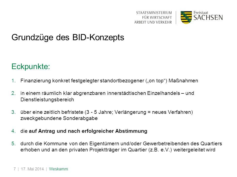 | 17. Mai 2014 | Weskamm7 Grundzüge des BID-Konzepts Eckpunkte: 1.Finanzierung konkret festgelegter standortbezogener (on top) Maßnahmen 2.in einem rä