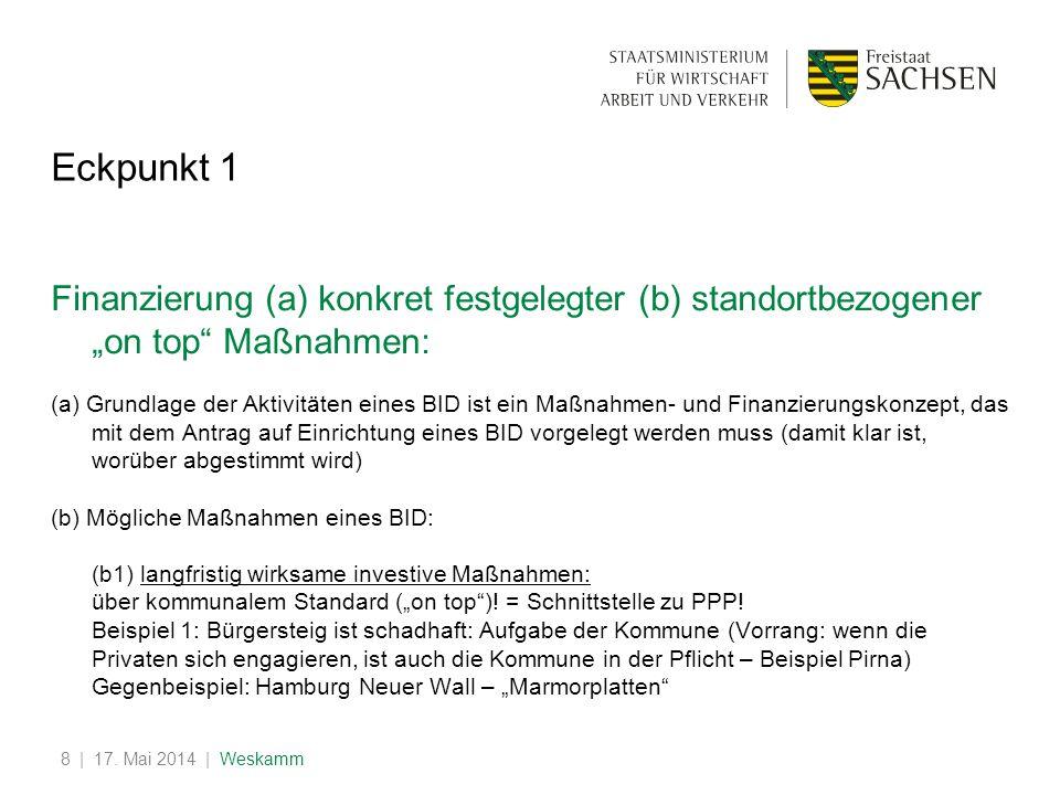 | 17. Mai 2014 | Weskamm8 Eckpunkt 1 Finanzierung (a) konkret festgelegter (b) standortbezogener on top Maßnahmen: (a) Grundlage der Aktivitäten eines