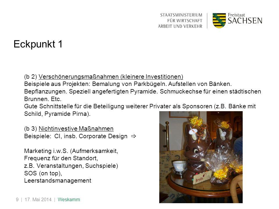 | 17. Mai 2014 | Weskamm9 Eckpunkt 1 (b 2) Verschönerungsmaßnahmen (kleinere Investitionen) Beispiele aus Projekten: Bemalung von Parkbügeln. Aufstell