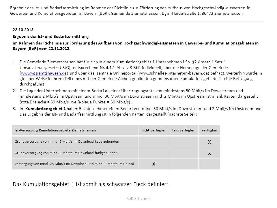 Ergebnis der Ist- und Bedarfsermittlung im Rahmen der Richtlinie zur Förderung des Aufbaus von Hochgeschwindigkeitsnetzen in Gewerbe- und Kumulationsgebieten in Bayern (BbR).