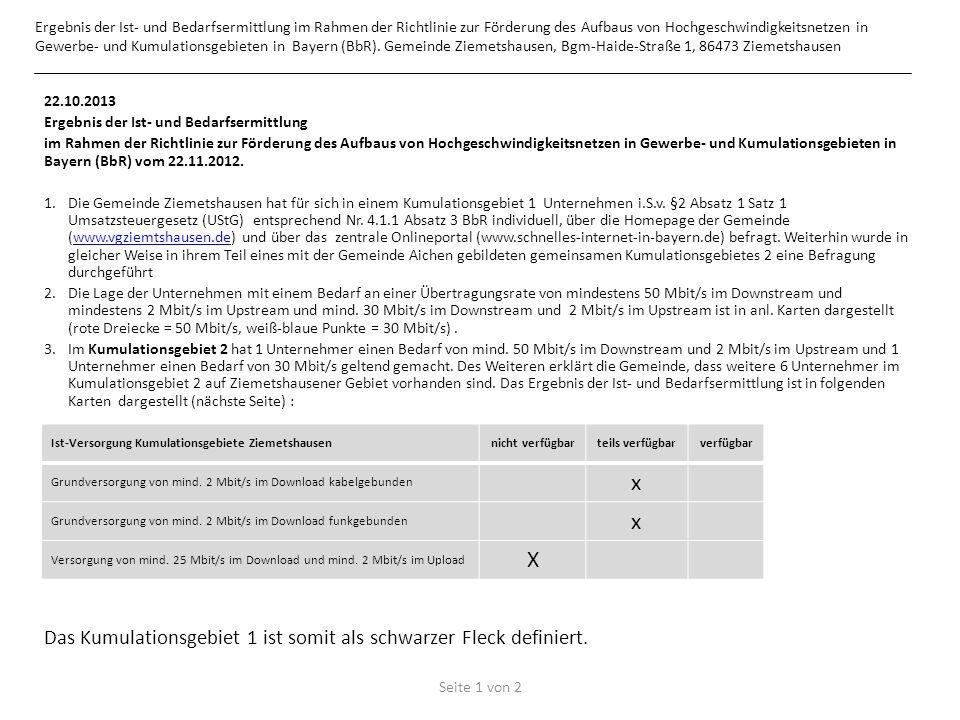 22.10.2013 Ergebnis der Ist- und Bedarfsermittlung im Rahmen der Richtlinie zur Förderung des Aufbaus von Hochgeschwindigkeitsnetzen in Gewerbe- und Kumulationsgebieten in Bayern (BbR) vom 22.11.2012.